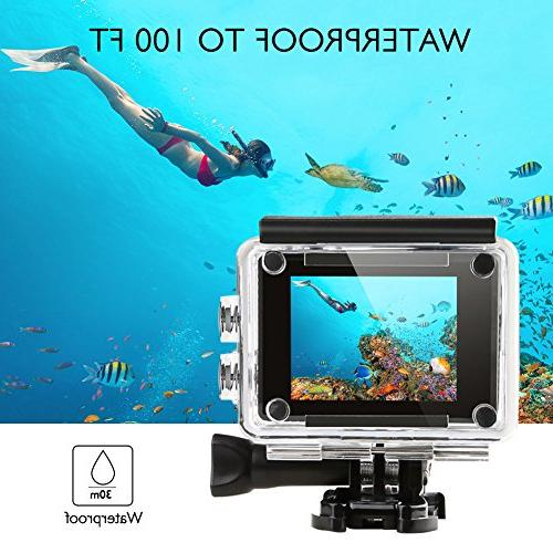 AKASO 4K/30fps 20MP WiFi 30m Waterproof Camera with Remote Wide Angle, 2 Batteries and Kit