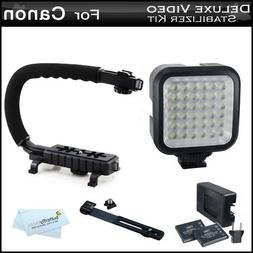 LED Video Light + Video Stabilizer Kit For Canon VIXIA HF R7