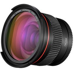 Neewer 52MM 0.35x Pro Macro Fisheye Wide Angle Lens with Mac