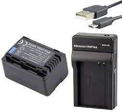 Micro USB Charger + Battery For Panasonic HC-VX981 HC-VX981K