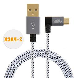 CableCreation  6.5 Feet Right Angle Micro USB 2.0 Braided Ca