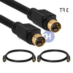 S-Video 3 FT SVHS Gold Plated Cable Camcorder 4 pin 3 feet -