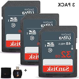 3 Pack SanDisk 32GB SD Memory Card  UHS-I Class 10 80MB/s +