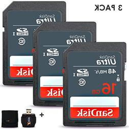 3 Pack SanDisk 16GB SD Memory Card  UHS-I Class 10 80MB/s +