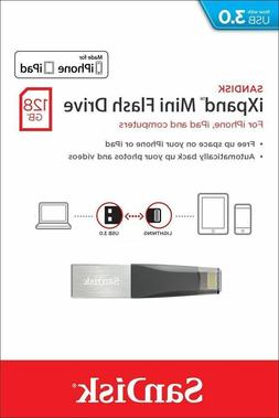 SanDisk 128GB SDIX40N iXpand Mini USB 3.0 Lightning Flash Dr