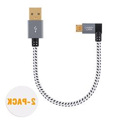 CableCreation 2-PACK Short  Right Angle Micro USB 2.0 Braide