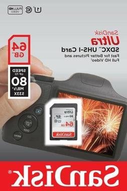 SanDisk Ultra 64GB Class 10 SDXC UHS-I Memory Card up to 80M