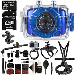 "Vivitar DVR-783HD Blue 5.1MP Action Camcorder 1.8"" Touch Scr"