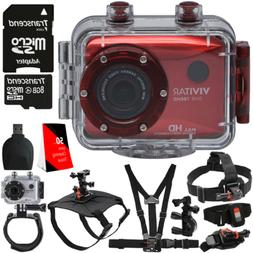"Vivitar DVR-783HD Red 5.1MP Action Camcorder 1.8"" Touch Scre"