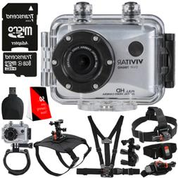 """Vivitar DVR-786HD Silver 5.1MP Action Camcorder 1.8"""" Touch S"""