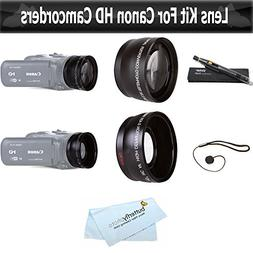 Wide Angle AND Telephoto Lens Kit For CANON VIXIA HF R82, HF